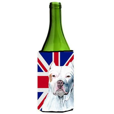 Pit Bull With English Union Jack British Flag Wine bottle sleeve Hugger - 24 Oz. - image 1 de 1