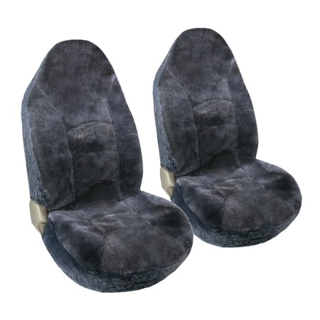 Leader Accessories Auto Sheepskin High Back Front Seat Covers Set Universal Fit for Car Truck Charcoal