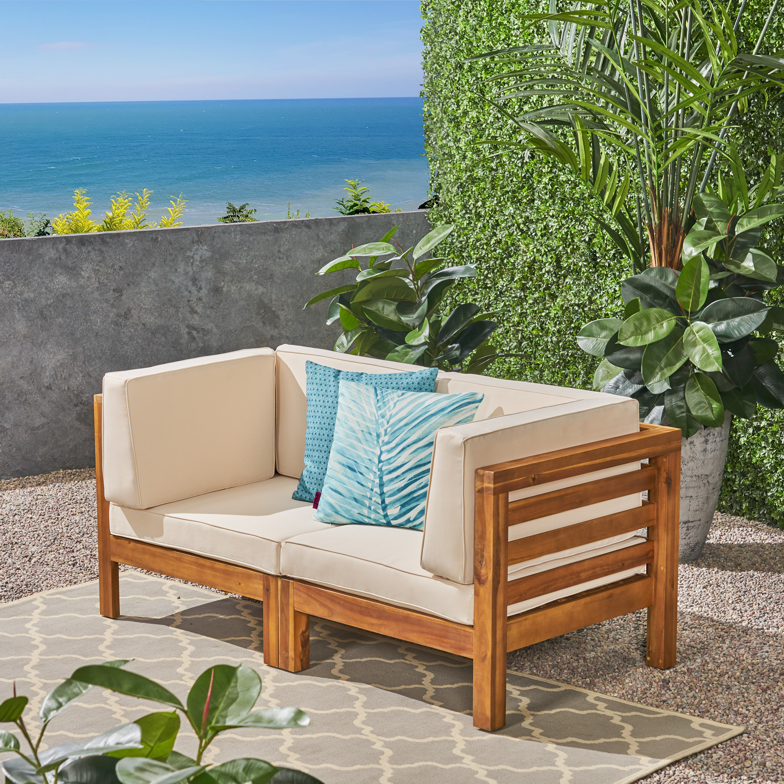 Frankie Outdoor Acacia Wood Sectional Loveseat with Cushions, Teak, Blue