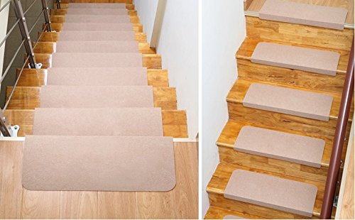 Home Cal 13 Non Slip Stair Treads, Easy Tape Installation U0026 Rubber Backing  (Wheat