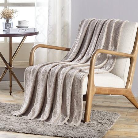 Plazatex Dama Embossed Scroll Pattern Soft & Cozy Throw Blanket - 50x60