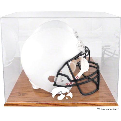 NCAA - Iowa Hawkeyes Oak Base Logo Helmet Display Case with Mirror Back
