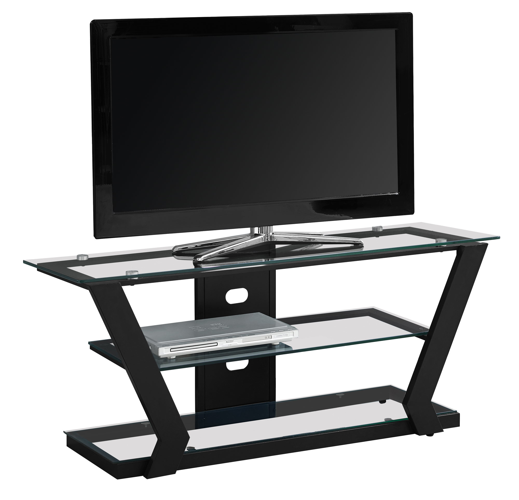 """TV STAND - 48""""L / WHITE METAL WITH TEMPERED GLASS"""