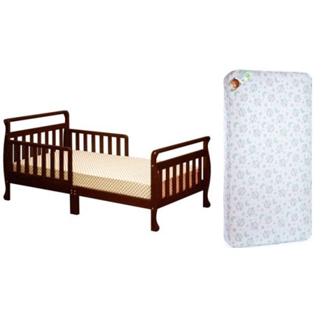 Classic Sleigh Toddler Bed - Athena Classic Sleigh Toddler Bed w/Mattress Bundle (Your Choice in Finish)