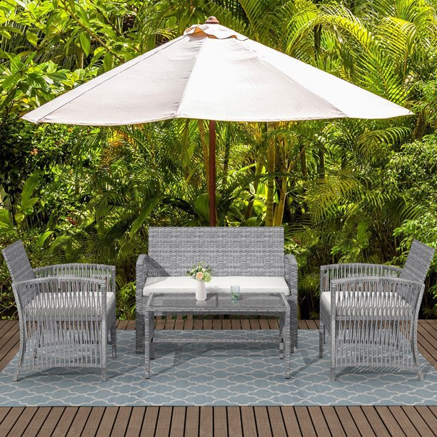 Wicker Chair Set, 2021 Upgrade Outdoor Patio Furniture Set, 4