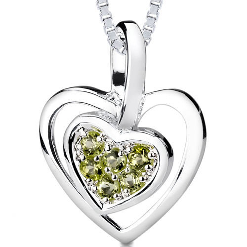 Oravo 0.25ct Round Cut Peridot Heart Pendant in Sterling Silver