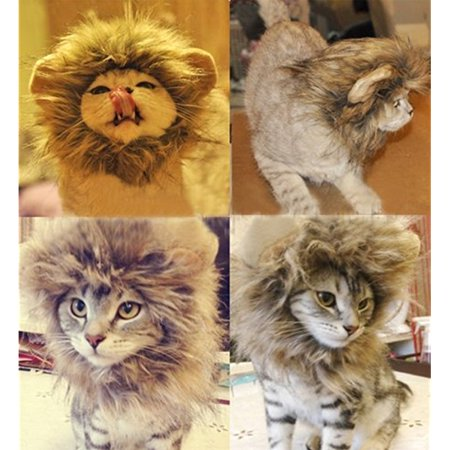 Generic Pet Costume Lion Mane Wig for Cat Christmas Xmas Santa Halloween Clothes Festival Fancy Dress up (Gray, S) for $<!---->