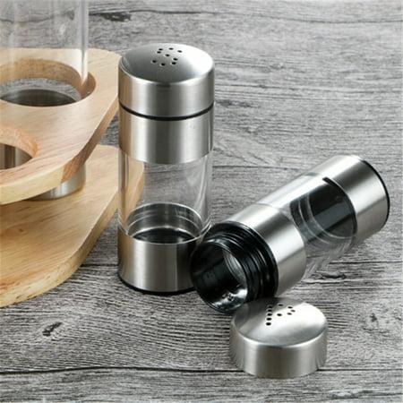 Seasoning Bottle Set with Wooden Rack Translucent Pepper Bottle Holder Kitchen Tools for Oil Salt Vinegar Soy Sauce Storage - image 4 de 9