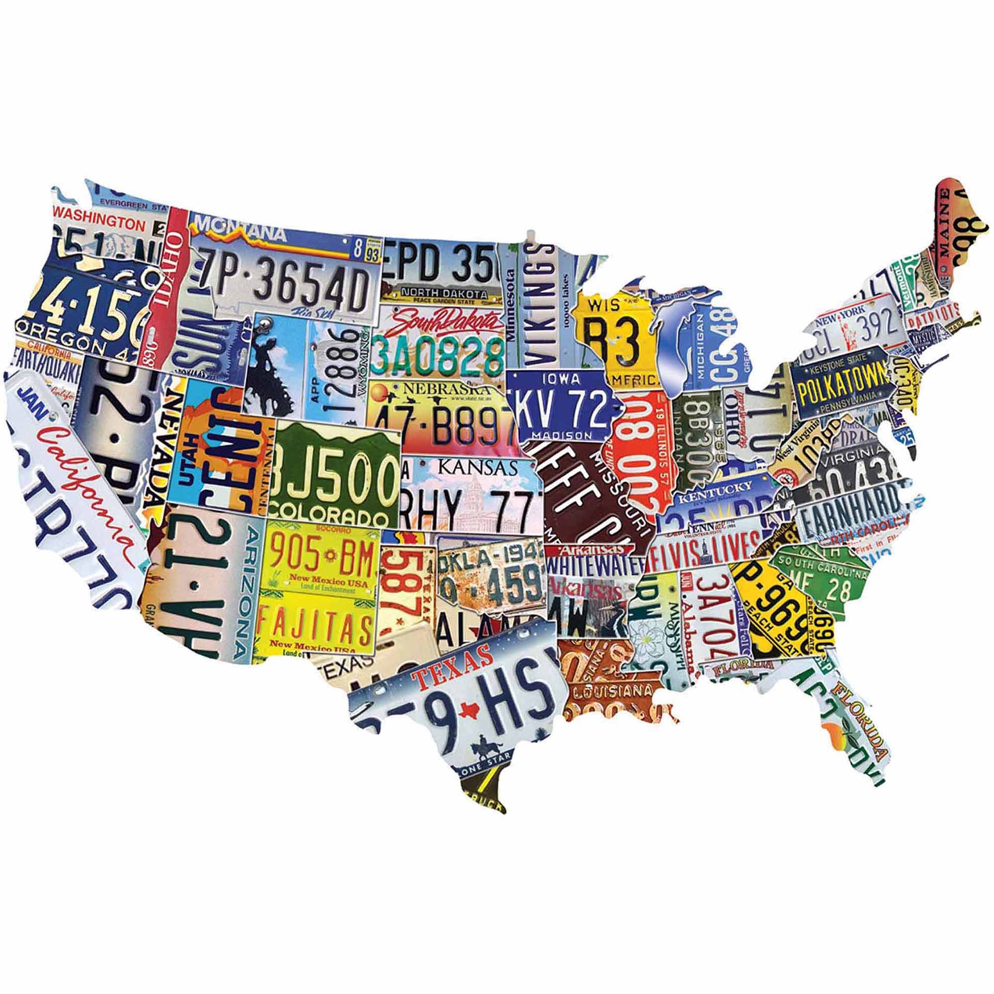 U.S.A. Shaped Puzzles, License Plates