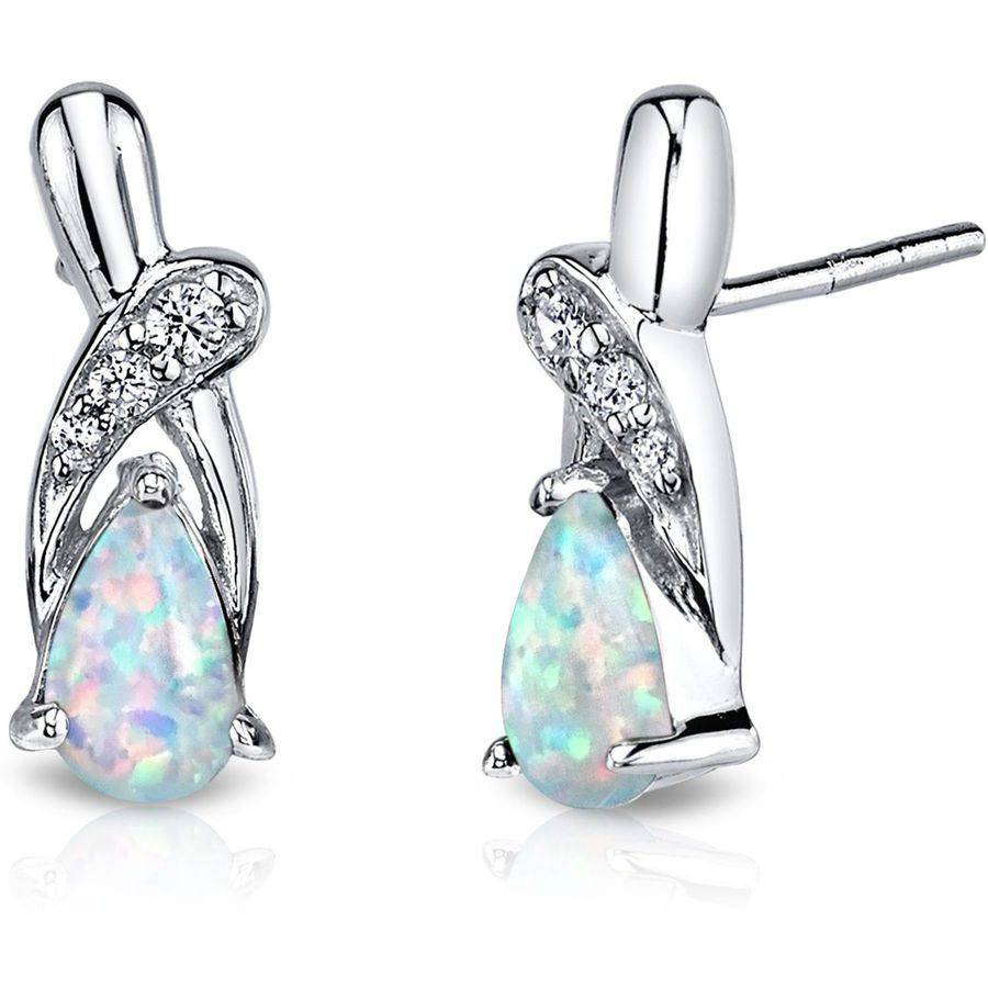 Oravo 1.00 Carat T.G.W. Teardrop-Shape Opal Rhodium over Sterling Silver Stud Earrings