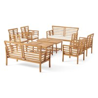 Noble House Cascada Outdoor Modern Acacia Wood 8 Seater Chat Set