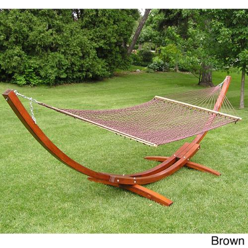 Styled Shopping Inc Deluxe Wood Arc Hammock Stand Brown Rope Set