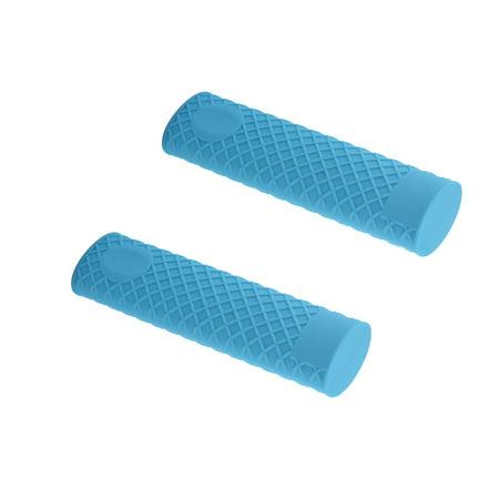 Unique Bargains Heat Resistant Silicone Pot Pan Handle Grip Holder Cover Blue 2 Pcs (2 Handle Pot)