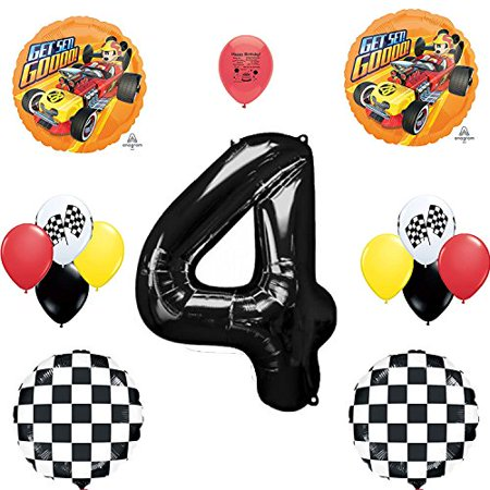 Mickey Mouse Roadster Racer Party Supplies 4th Birthday Party Balloon Set - Balloon Decor Mickey Mouse Theme