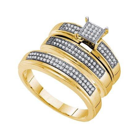 10kt Yellow Gold His & Hers Round Diamond Cluster Matching Bridal Wedding Ring Band Set 1/3 Cttw - image 1 de 1