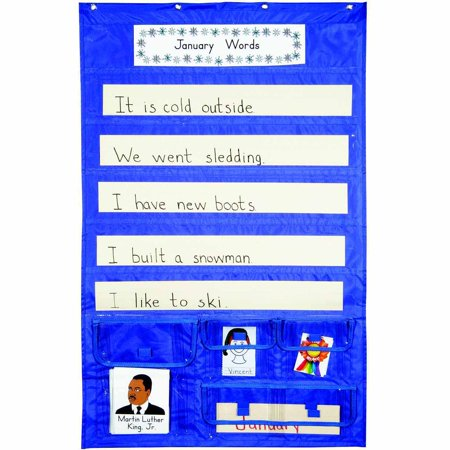 School Smart Sentence Strip Pocket Chart with Card Storage, 28