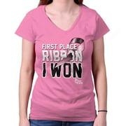 Breast Cancer Awareness Shirt | First Place Ribbon Pink BCA Junior V-Neck Tee