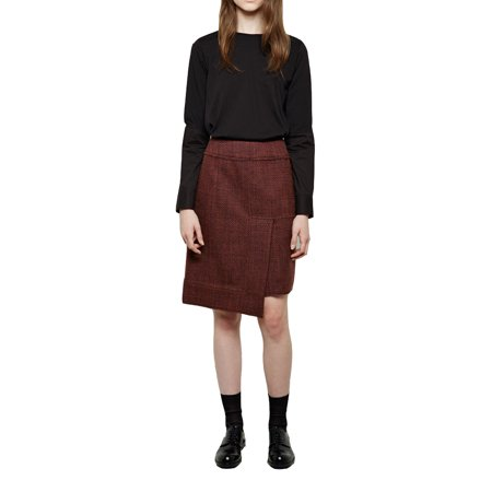 Marni Burgundy Wool Tweed Asymmetric Hem Skirt (38)