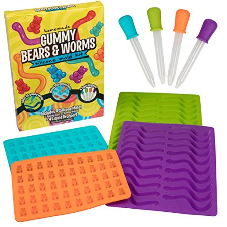 Bead Mold (Gummy Bear & Worm Mold, Silicone Candy Molds, Set of 4 Trays & Droppers for 140 Candies )
