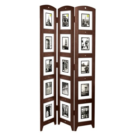 Triple Panel Espresso Photo Screen Room Divider  Holds 15 Photos  33  X 64 5