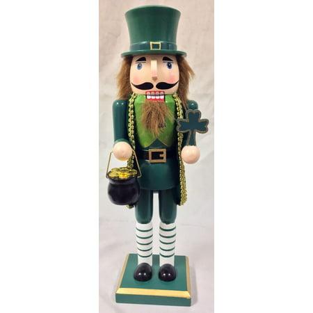 Man Nutcracker - Irish Man with Pot of Gold Four Leaf Clover Wooden Christmas Nutcracker 14 Inch