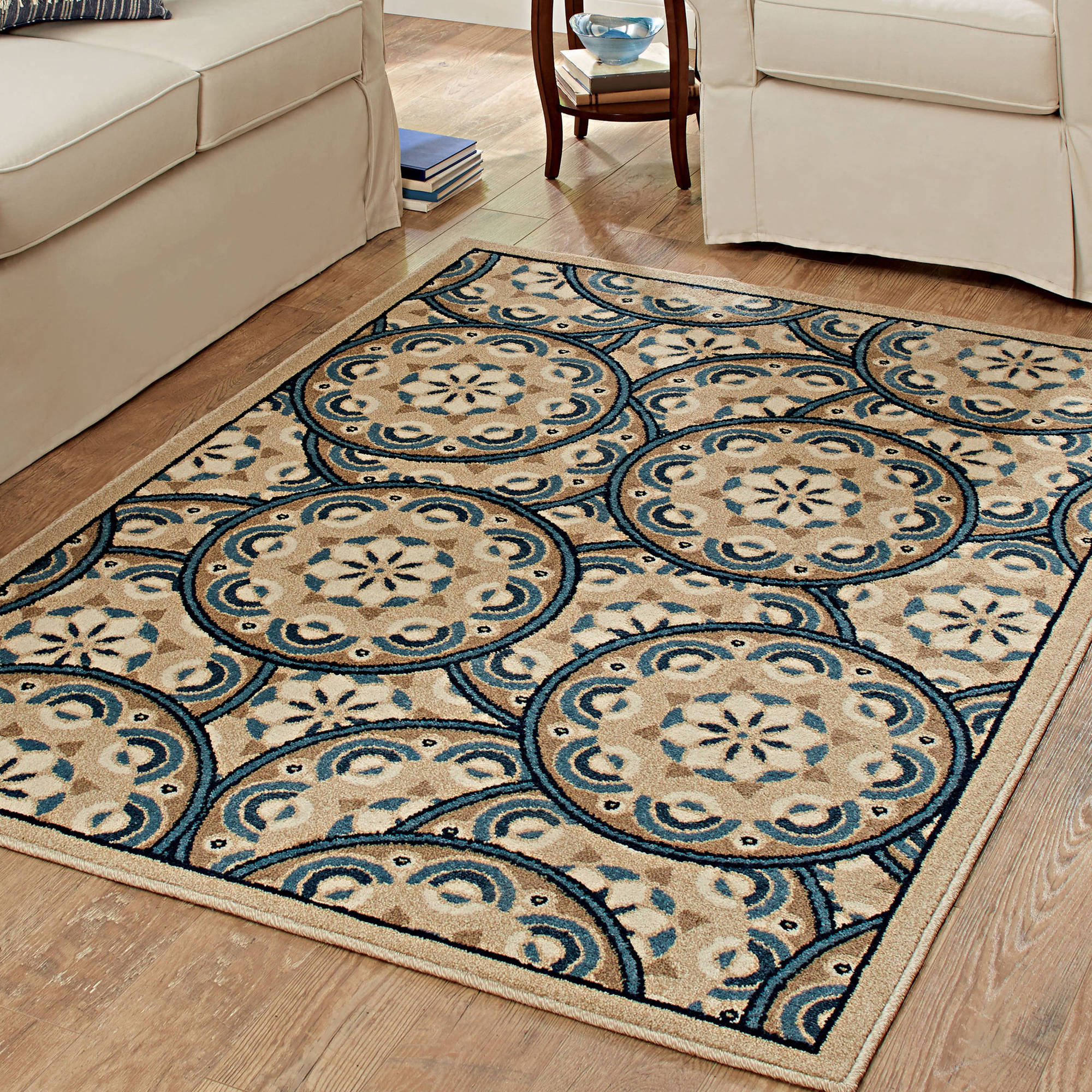 Better Homes and Gardens Blue Tokens Driftwood Area Rug or Runner