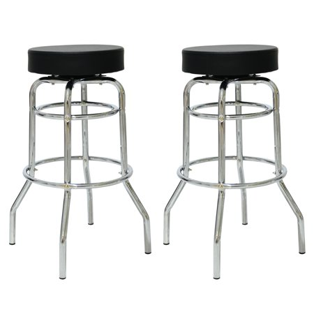 1950s Style Bar Stool - Porthos Home Retro 360 Degree Swivel Double Rung Bar Stools with 1950s Diner Style Chrome Finish Frame, Set of 2