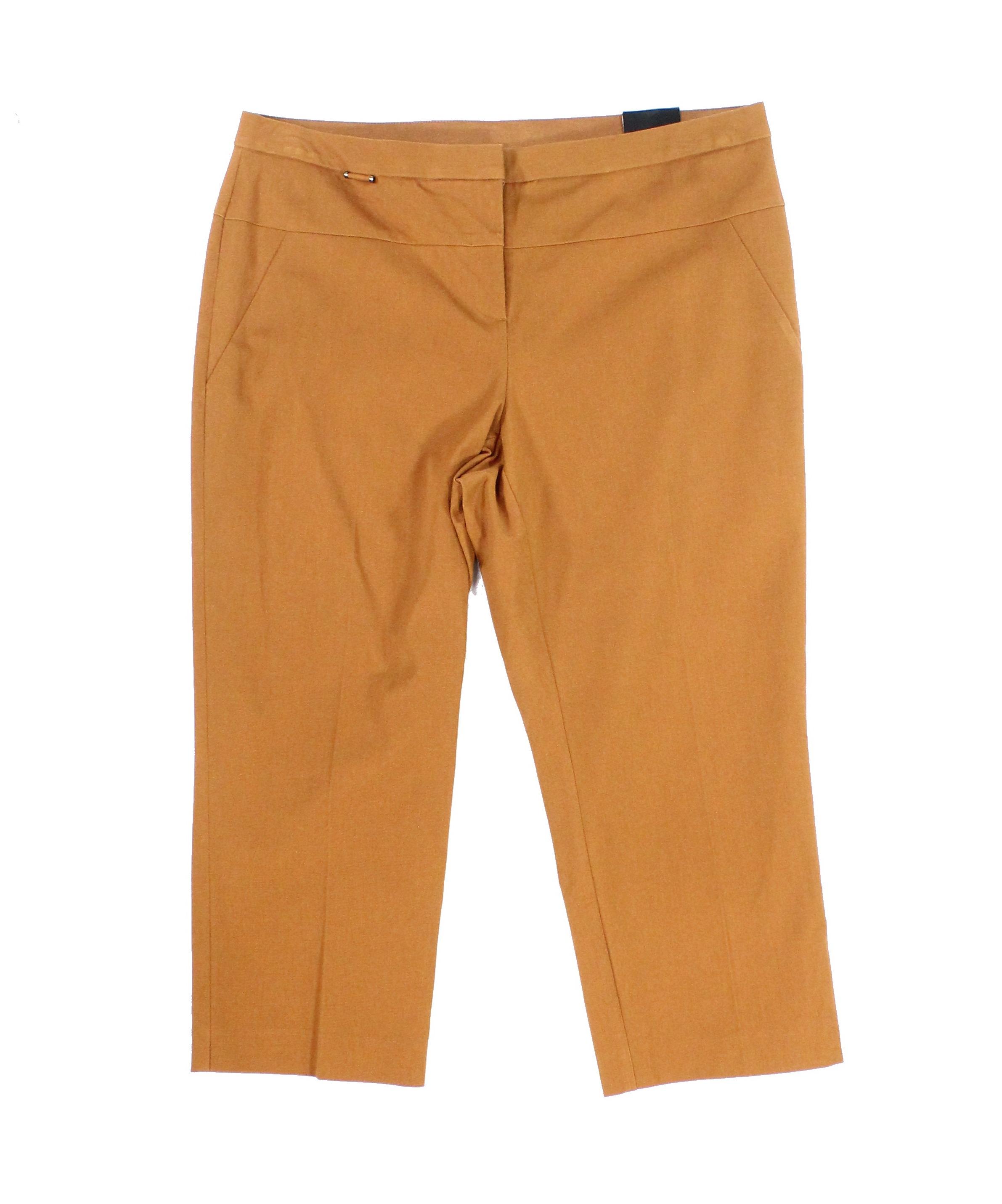 Alfani NEW Sienna Brown Womens Size 4 Tab-Front Seamed Capri Pants
