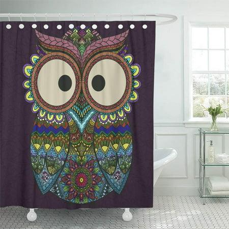 KSADK Boho Ornamental Owl Ethnics Abstract Doodle on Floral Sketch of Totem Animal Shower Curtain 66x72 (Owl Animal Totem)