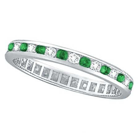 Emerald and Diamond Channel Set Eternity Band Ring Palladium - Palladium Set Ring