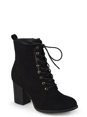 71417c537fd9ca Women s Lace-up Stacked Heel Faux Suede Booties