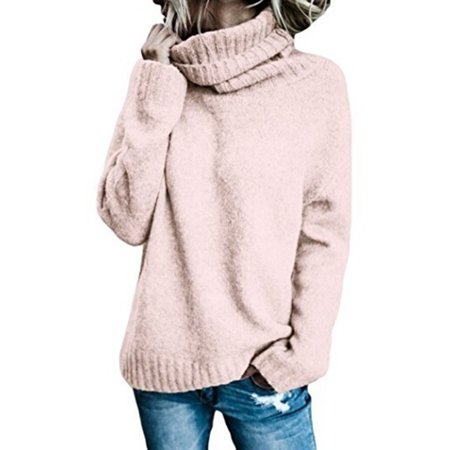 a2275b748be158 Issac Live - Women's Fashion Casual Knitted Sweater Turtleneck Long Sleeve  Solid Pullover Sweater - Walmart.com
