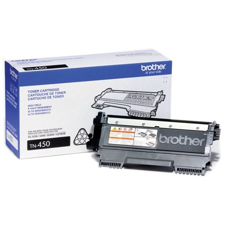 Brother Genuine High Yield Toner Cartridge, TN450, Replacement Black Toner, Page Yield Up To 2,600 - Multi Pack Compatible Toner