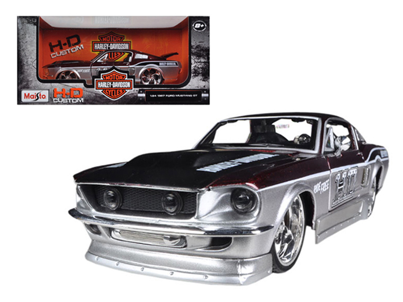 1967 Ford Mustang GT Red  Silver Harley Davidson 1 24 Diecast Model Car by Maisto by Maisto