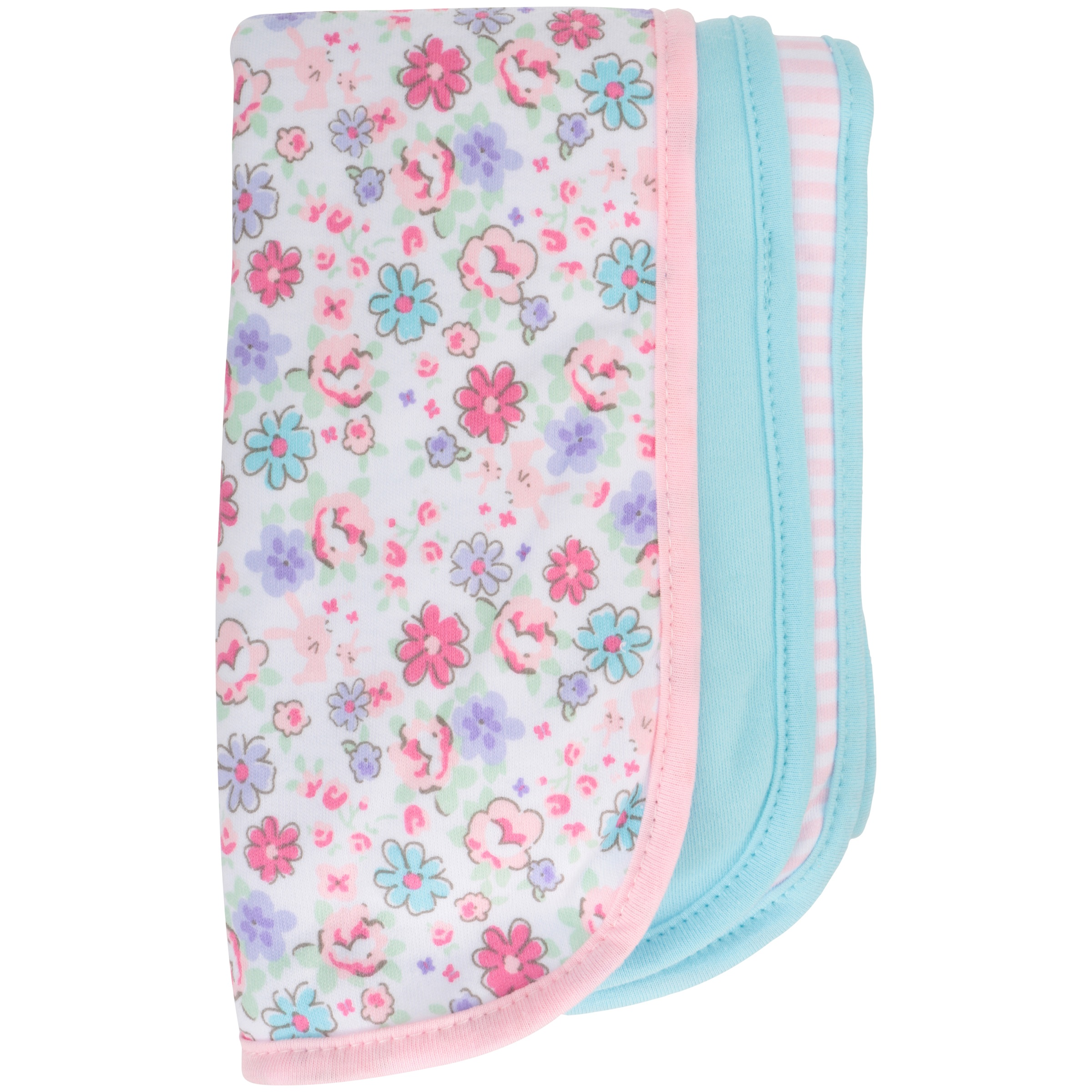 Gerber Newborn Baby Girl Assorted Terry Lined Burp Cloths, 3-Pack