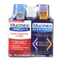 Mucinex Fast-Max Severe Congestion and Cough and Mucinex Nightshift Cold and Flu Liquid - 2 Bottles (6 fl oz Each)