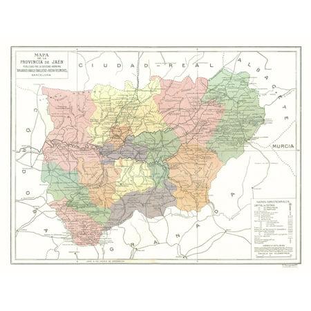 Map Of Spain Jaen.Jaen Province Spain Pompido 1913 30 00 X 23