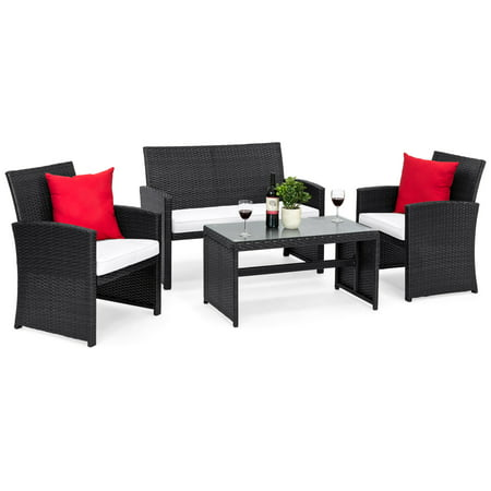 Faux Wicker Furniture (Best Choice Products 4-Piece Wicker Patio Conversation Furniture Set w/ 4 Seats, Tempered Glass Tabletop, 3 Sofas, Table, Weather-Resistant Cushions - Black )
