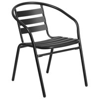 Lancaster Home Metal Restaurant Stack Chair with Aluminum Slats