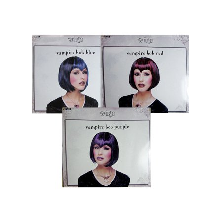 Mens Vampire Wig (Paper Magic Group Women Vampire Bob Wig Accessory, Blue/Black, One)