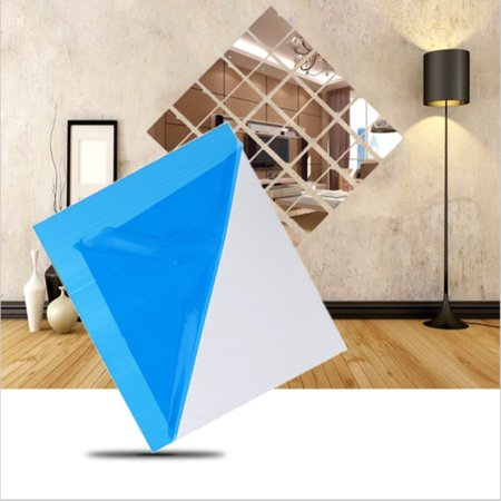 WALFRONT 16 PCS Square Wall Mirror 3D Decal Mosaic Home Bathroom Decor Self Adhesive Wall Stickers Plastic Mirror Tiles Set 6in * 6in ()
