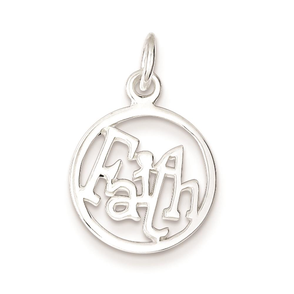925 Sterling Silver Rhodium Plated Faith Circle Polished Charm Pendant 18mmx15mm