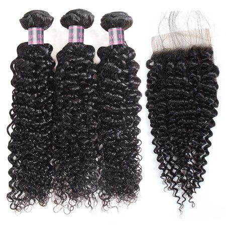 Allove Kinky Curly Human Hair Bundles with Closure 7A Peruvian Hair Weave 3 Bundles, 12