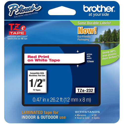 Brother TZE232 12mm Laminated Tape, Red on White