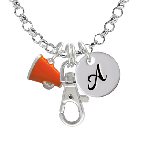 Small Orange Megaphone - A - Initial Badge Clip Necklace