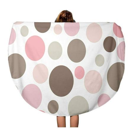 Tan Polka Dot (SIDONKU 60 inch Round Beach Towel Blanket Beige Pattern Retro Pink and Brown Polkadot Tan Pastel Travel Circle Circular Towels Mat Tapestry Beach Throw )