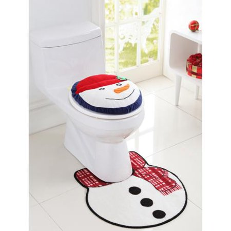 holiday themed christmas snowman 2 piece bath rug set