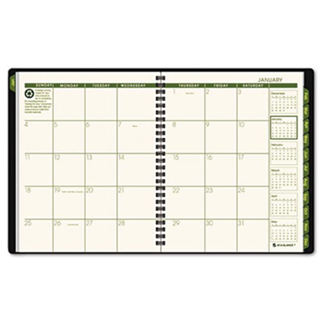 Recycled Classic Monthly Large Desk Planner  12 Months (Jan-Dec)  Black Cover