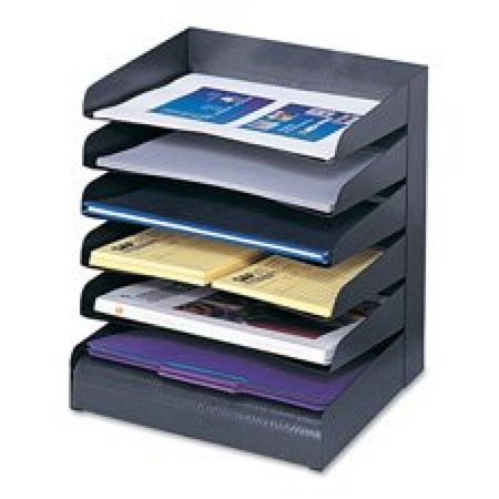 Safco Products 3129BL Steel Desk Organizer Tray Sorter with 8 Shelves, Black