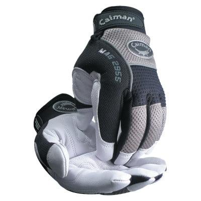 White Goat Grain Leather Palm Gloves, Large, White/Black/Gray